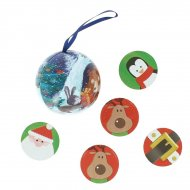 Boule de Noël métal avec pièces en chocolat