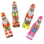 4 Pères Noël Emballés (10 cm) - Chocolat au Lait