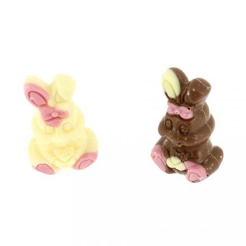 2 Lapins en Chocolat (10 g) - Blanc/Lait