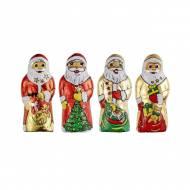 4 Minis Figurine Père Noël en Chocolat au Lait 10g