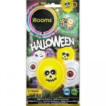 5 Ballons Lumineux LED Crâne et Oeil