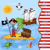 Contient : 1 x 20 Serviettes Pirate Island