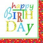 20 Serviettes Happy Birthday Stars