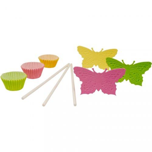 Kit 60 caissettes et Décos Cakes Pop Papillons