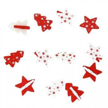 12 Petites Pinces Etoiles et Sapins (3,5 cm) - Bois
