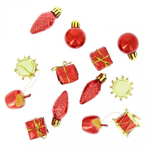 13 Mini Suspensions de Noël Rouge (2,5 cm)