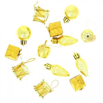 13 Mini Suspensions de Noël Or (2,5 cm)