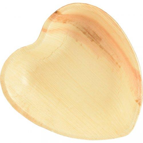 25 Petites Assiettes Coeur (16 cm) - Feuille de Palmier