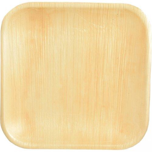 25 Petites Assiettes Carrées (18 cm) -  Feuille de Palmier