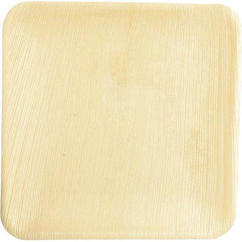 25 Assiettes Carrées (25 cm) - Feuille de Palmier