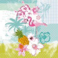 20 Serviettes Flamant Rose Exotic