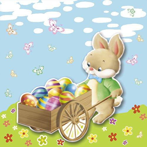 20 Serviettes Lapin et ses Oeufs de Pâques