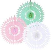 3 éventails Pastel Rose/Vert/Blanc (40 cm)