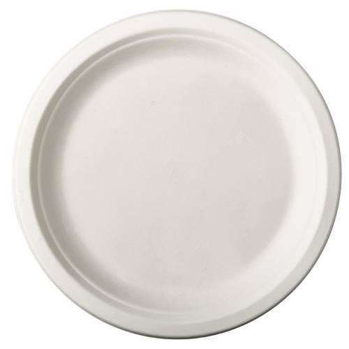 12 Assiettes en Canne à Sucre - Blanc