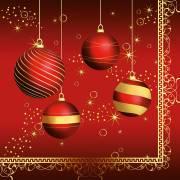 20 Grandes Serviettes - Boules de Noël Rouge