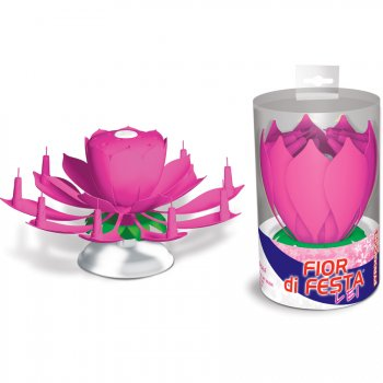 Bougie Fontaine Musicale Fleur Rose