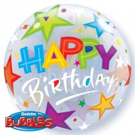 Bubble ballon Happy Birthday Etoiles