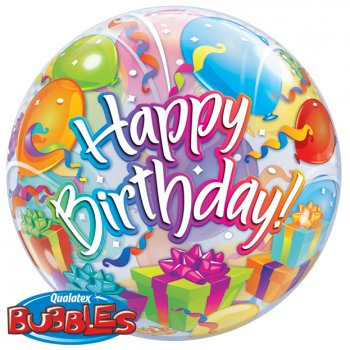 Bubble ballon à Plat Happy Birthday Ballon