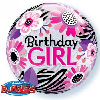 Bubble ballon à plat Birthday Girl