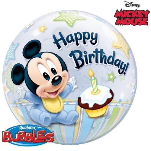 Bubble ballon Gonflé à l Hélium Mickey 1 an