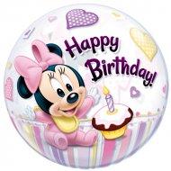 Bubble ballon Gonflé à l'Hélium Minnie 1 an