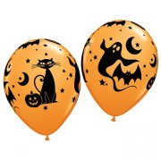 Lots de 25 ballons oranges halloween