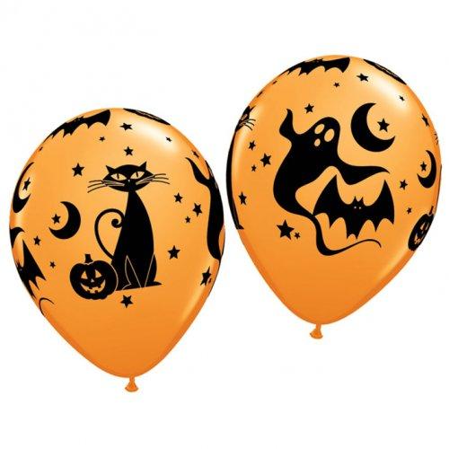 Lots de 25 ballons oranges halloween