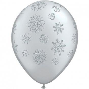 Lot de 25 Ballons Argentés Flocons de Neige