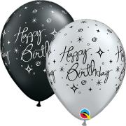 Lot de 50 Ballons Etoiles Noirs et Argentés