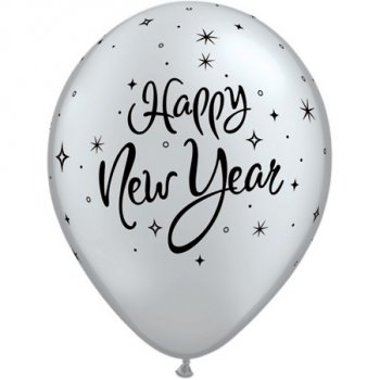 Lot de 25 Ballons Happy New Year Noirs et Argentés