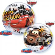 Bubble Ballon à Plat Cars Happy Birthay
