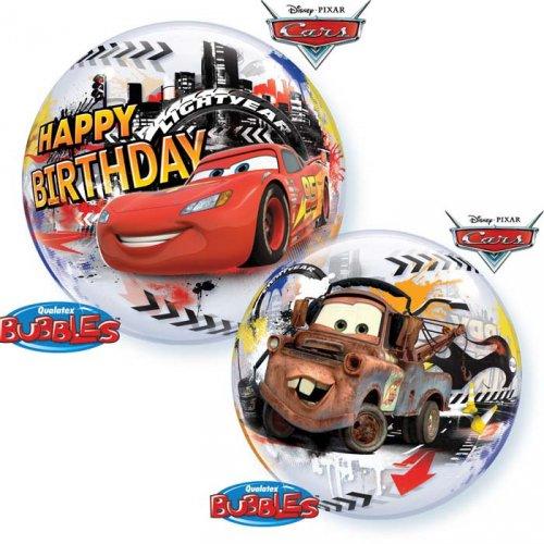Bubble Ballon Hélium Cars Happy Birthay