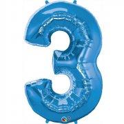 Ballon G�ant Chiffre 3 Bleu