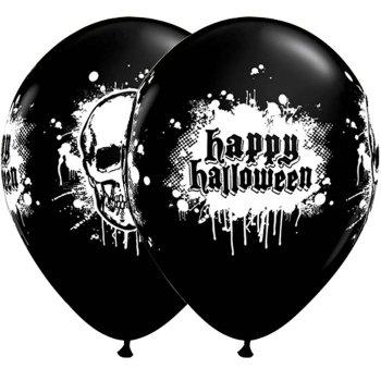 Lot de 6 ballons noirs Happy Halloween