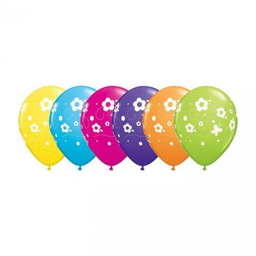 6 Ballons Fleurs et Papillons