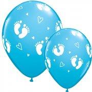 6 Ballons Pieds de Bébé Bleu