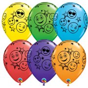 25 Ballons Emoji Smiley Multicolores