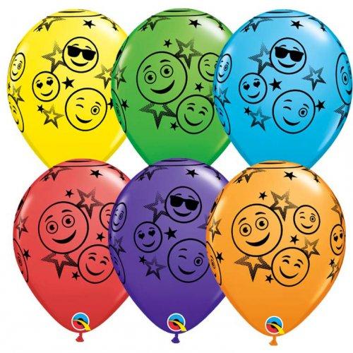 25 Ballons Emoji Smiley Multicolores