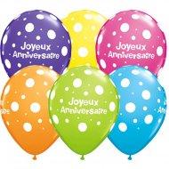 25 Ballons Joyeux Anniversaire à Pois