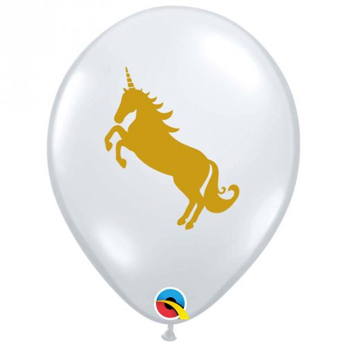 25 Ballons Transparents Licorne Or