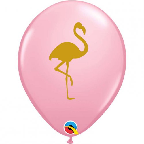 25 Ballons Rose Flamant Or