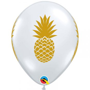25 Ballons Transparents Ananas Or