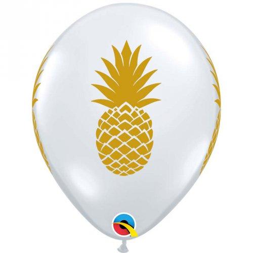 25 Ballons Transparents Ananas Or