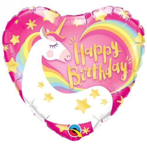 Ballon Gonflé à l Hélium Licorne Coeur