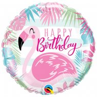 Ballon à Plat Flamant Happy Birthday