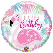 Ballon Gonflé à l'Hélium Flamant Happy Birthday