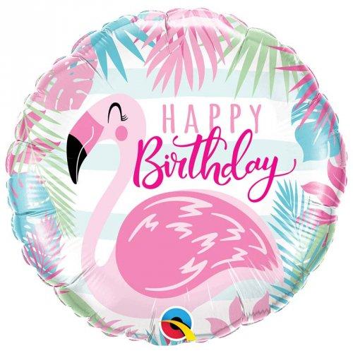 Ballon Gonflé à l Hélium Flamant Happy Birthday