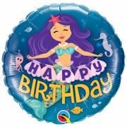 Ballon Gonflé à l'Hélium Sirène Happy Birthday