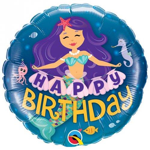 Ballon Gonflé à l Hélium Sirène Happy Birthday