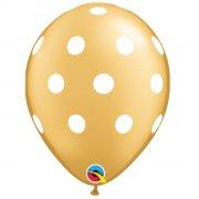 25 Ballons Or à Pois blancs